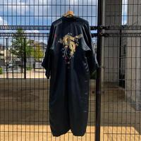 """'Unisex' 80's~ """"龍"""" スーベニア 刺繍 ロング ガウン コート SILK100% Black"""