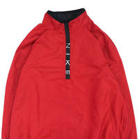 "90's NIKE ""Zip Logo"" Nylon Pull Over Jacket RED Lサイズ"