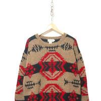 "80's BANANA REPUBLIC ""Safari&Travel Clothing"" Native Sweater Mサイズ"