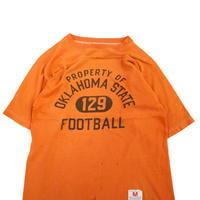 70's CHAMPION バータグ 染み込み プリント フットボール Tシャツ Mサイズ USA製