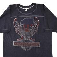 "~80's Harley Davidson ""No'1"" プリント フットボール Tシャツ Lサイズ"