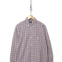 90's~ STUSSY チェック ボタンダウンシャツ White×Navy×Red Lサイズ