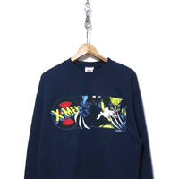 "90's MARVEL ""X-MEN"" 両面プリント スウェット NAVY USA製"