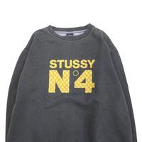 "90's~00's OLD STUSSY ""NO4"" モノグラム プリント スウェット Lサイズ USA製"