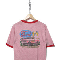 """80's~ FORD """"4×4"""" 両面プリント リンガーTシャツ 霜降りピンク"""