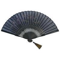 沈み彫り親骨+刺繍扇子 Intaglio インタリオ <更紗・さらさ(ブラック)>