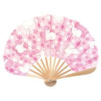 小丸扇子 <桜うさぎ>(てぬぐい)