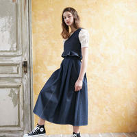 <ADIRA>bicolor stitch long skirt AR182SK15