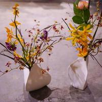 敬老の日のプレゼントに お花+陶器花瓶セット(low) フラワーベース 花器 花瓶 陶器 インテリア オシャレ プレゼント 贈り物 ギフト