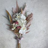 ミニブーケ スプレーバラ グレビリアゴールド 胡蝶蘭(造花) ドライフラワー ブーケ インテリア スワッグ