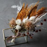 ミニスワッグ×ゴールドフレーム ガラスセット ドライフラワー スワッグ フラワーベース 花瓶 インテリア