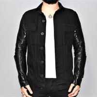 BORIS BIDJAN SABERI / TEJANA  / Horse leather sleeves denim jacket