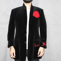 Yohji yamamoto pour homme / FW2003 Rose Flower Leather Patch Velvet Jacket.