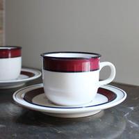 ヤマト White&Wine カップ&ソーサー ワインレッドライン STONEWARE(未使用長期保管品)
