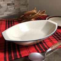 KEINAN 渓南陶器 カレー皿 ブルーライン 24.2cm STONEWARE(未使用長期保管品)