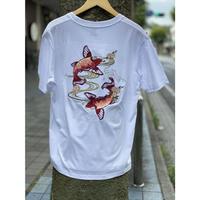 SALE!!  横須賀名物 スカジャン Tシャツ 刺しゅう スカT 鯉 コイ CARP 白 ホワイト 和柄 ジャパン 正規品 SUKAT