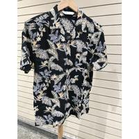 【特別SALE価格】アロハシャツ ALOHA 半袖 オープンカラー 開襟 レーヨン100% 黒 ブラック フラワープリント ハワイアンシャツ R1