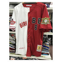 NEGRO LEAGUE BBB 『バーミンガム ブラックバロンズ』 公式 ベースボールシャツ 野球 ユニフォーム ナンバリング 00 赤 白