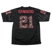 NFL サーケビンジェームス Sir Kevin James ディオン Sanders サンダース Vネック ナンバリング 21 フットボールジャージ 黒 アメフト 蛇柄