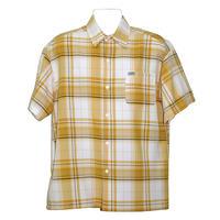 アメリカ製 CALTOP キャルトップ 黄色×白 チェックシャツ 半袖 ボタンアップ