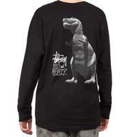USA正規品 Stussy ステューシー BIG MEATY ビッグマイティ 恐竜 ショーンフォント 長袖 Tシャツ ロンT 黒 ブラック ストリート