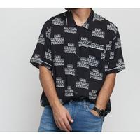 限定コラボ  HUF ハフ 半袖 ボタンシャツ 黒 パルプフィクション PULPFICTION バッドマザーファッカー 総柄 ブラック BAD MF