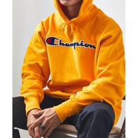 日本未発売 Champion USA チャンピオン リバースウィーブ チェーンステッチ スウェット プルオーバー パーカー 黄色 イエローゴールド