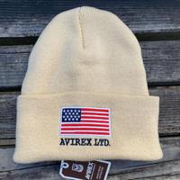 AVIREX アヴィレックス 星条旗 スターアンドストライプ USA フラッグ ニット帽 ニットキャップ 刺繍ロゴ ユニセックス クリーム オフホワイト