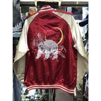【激安SALE】 横須賀発祥 スカジャン 横須賀ジャンパー SUKAJAN サテン地 刺繍 白くま 白熊 Bear 内ポケットあり 赤 レッド