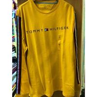 海外限定デザイン TOMMY HILFIGER トミーヒルフィガー  長袖 Tシャツ ロンT イエロー 黄色 ロゴ テープ袖 ロングスリーブ USA正規品