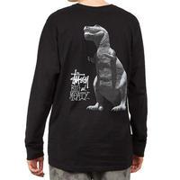 Stussy ステューシー BIG MEATY ビッグマイティ 恐竜 ショーンフォント 長袖 Tシャツ ロンT 黒 ブラック ストリート USA正規品