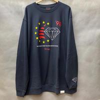 Diamond Supply ダイヤモンドサプライ WORLDS FINEST クルーネック スウェット トレーナー ピスタグ付き 紺 ネイビー