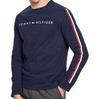 海外限定デザイン TOMMY HILFIGER トミーヒルフィガー  長袖 Tシャツ ロンT ネイビー 紺 ロゴ テープ袖 ロングスリーブ USA正規品