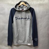 【M】 ダイヤモンドサプライ Diamond supply co. スウェット プルオーバー パーカー LA ラグラン袖 グレー 紺 2トーン OG LOGO
