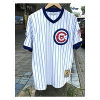 NEGRO LEAGUE 『クリーブランド Cubs カブス』 公式 ベースボールシャツ 野球 ユニフォーム Vネック No23 白 青 ストライプ