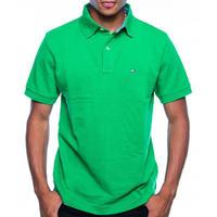 USA正規品 Tommy トミーヒルフィガー CUSTOM FIT カスタムフィット ワンポイント フラッグ POLOシャツ ポロシャツ 綿100% 緑 グリーン