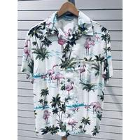 【特別SALE価格】アロハシャツ ALOHA 半袖 オープンカラー 開襟 レーヨン100% 白 ホワイト フラミンゴ 総柄 ハワイアンシャツ 新品 RB-27