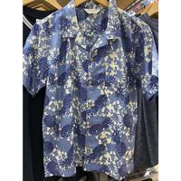 【特別SALE価格】ROBINSON アロハシャツ ALOHA 半袖 オープンカラー 開襟 コットン100% 綿 ハワイアンシャツ 青 パイナップル フラワープリント P03