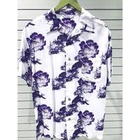 【特別SALE価格】アロハシャツ ALOHA 半袖 オープンカラー 開襟 レーヨン100% 白 紫 ホワイト 麒麟 和柄 ハワイアン 新品 RB-25