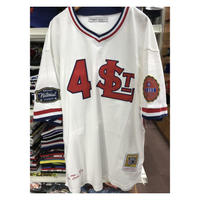 NEGRO LEAGUE『セントルイス スターズ』 公式 ベースボールシャツ 野球 ユニフォーム  Vネック 背番号4 白 赤 紺