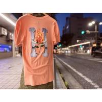 USA正規品 HUF ハフ EMBER ROSE 半袖 Tシャツ バラ 炎 Desert Flower サーモンピンク ストリート LA スケートボード