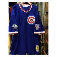 NEGRO LEAGUE『クリーブランド カブス』 公式 ベースボールシャツ 野球 ユニフォーム Vネック ナンバリング 17 青 白 赤