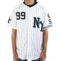 【2XL】 NEGRO LEAGUE  二グロリーグ NY『ブラック ヤンキース』BLACK YANKEES ユニフォーム ボタン #99 野球 ベースボールシャツ 白 黒ストライプ