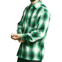 LA発祥 アメリカ製 CALTOP キャルトップ フランネル チェック 長袖 ボタンシャツ 緑 Green ローライダー ヒスパニック 西海岸
