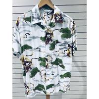 【特別SALE価格】アロハシャツ ALOHA 半袖 オープンカラー 開襟 レーヨン100% 白 風神雷神 ハワイアン 和柄 RAIJIN 新品 RB-21