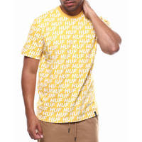 USA正規品 HUF ハフ 半袖 Tシャツ モノグラム 総柄 NIGHT MARKET イエロー 黄色 綿100% オールオーバーロゴ テキスタイル USA正規品