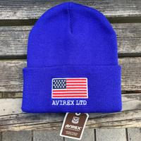 AVIREX アヴィレックス 星条旗 スターアンドストライプ USA フラッグ ニット帽 ニットキャップ 刺繍ロゴ ユニセックス  青 BLUE