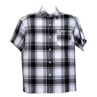アメリカ製 CALTOP キャルトップ 黒×白 チェックシャツ 半袖 ボタンアップ