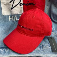 トミーヒルフィガー TOMMY HILFIGER レザーストラップバック キャップ 帽子 ローキャップ 赤 クラシックロゴ サイズ調節可