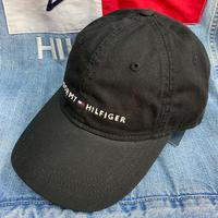 トミーヒルフィガー TOMMY HILFIGER レザーストラップバック キャップ 帽子 ローキャップ 黒 クラシックロゴ サイズ調節可